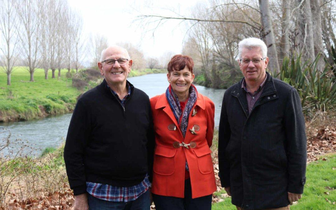 Paeroa Historical Maritime Park's Colin and Gloria James, left, with Hauraki District Mayor John Tregidga at the site of the Wharf St, Paeroa, development.
